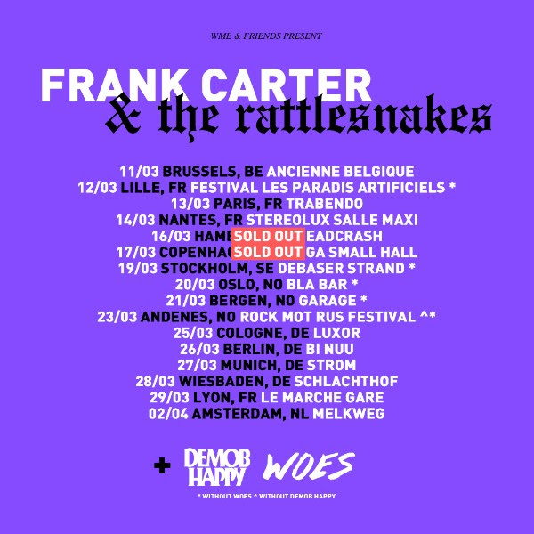 Frank Carter & The Rattlesnakes Tour