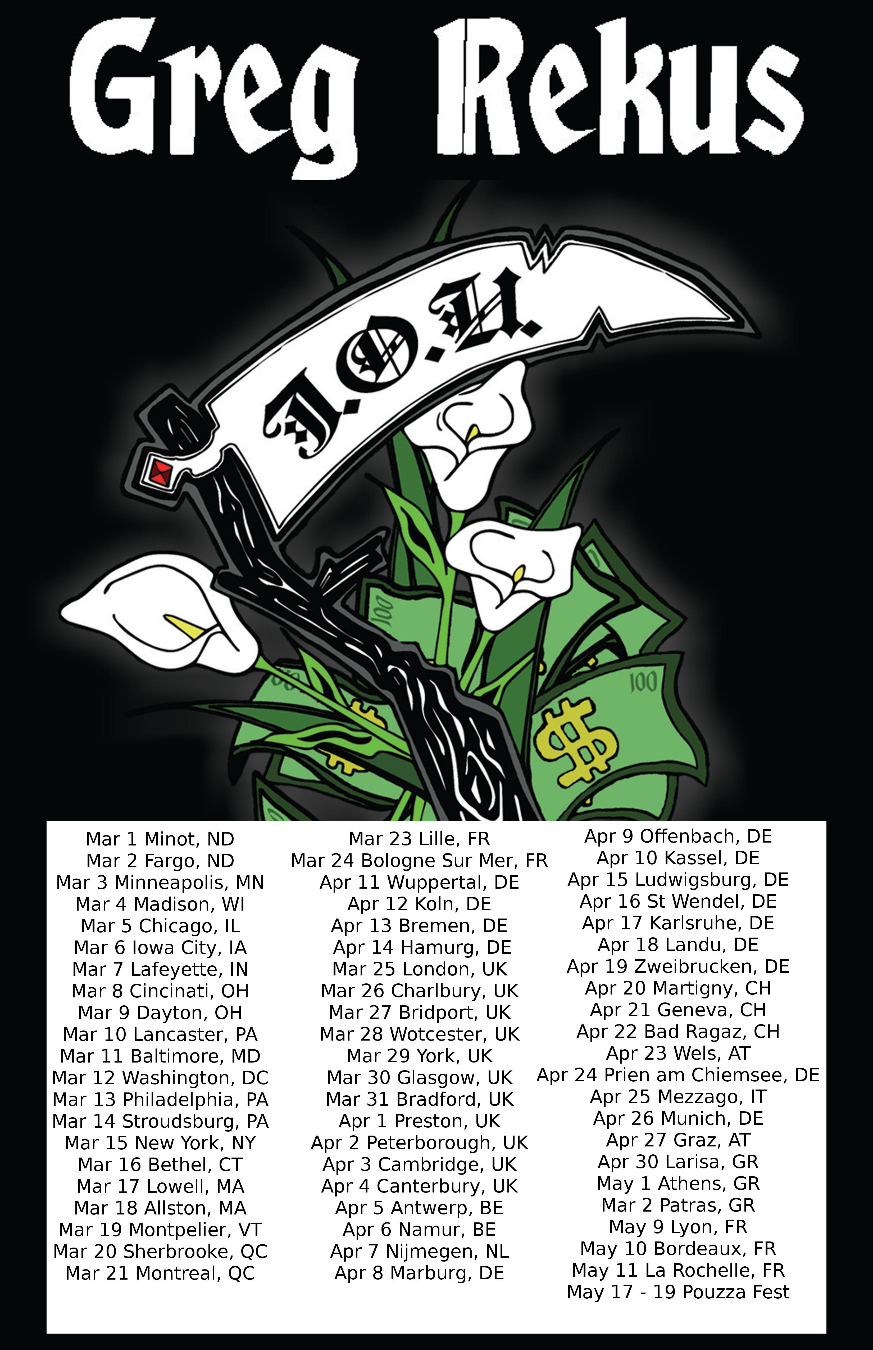 Greg Rekus - Tour Dates